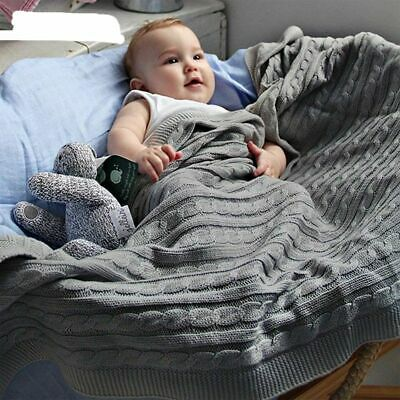 Soft Infant Baby Stroller Bedding Blankets Quilts Cotton Knitted Wrap Blanket