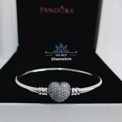 New Genuine Pandora Sterling Silver You Are Always In My Heart Bangle RRR£75