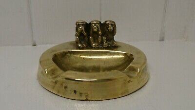 Heavy Vintage Solid Brass 3 Wise Monkeys Ashtray. 200 Grams. Great Display Piece