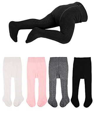 Baby Tights Cotton Rich Plain Baby Girls Tights Soft and Comfortable, 0-24 Pack