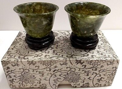 Chinese Spinach Jade Wine Cups (2) Cracks/Chips - READ