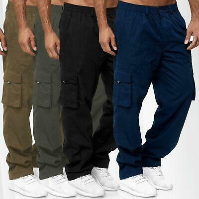 Men's Combat Cargo Trousers Elasticated Stretch Waist Bottoms Casual Work Pants