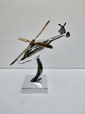 Metal Decorative Helicopter Model Figurine Table Top Decor au