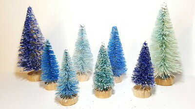 LOT 8 Mini Assorted BLUE & Metallic Miniature Sisal Bottle Brush Christmas Trees
