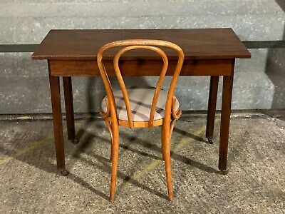 Antique Victorian mahogany writing desk side hall table with Hescot thonet chair