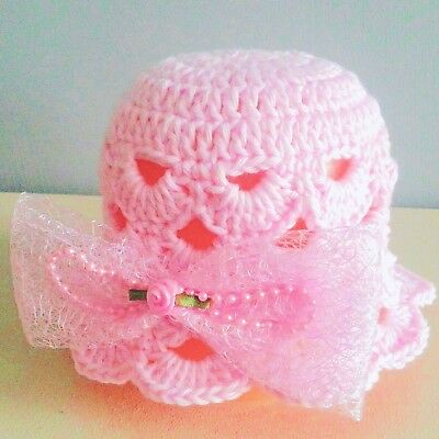 PINK BABY GIRLS HAND CROCHETED HAT knit shower gift romany bling vintage sun cap