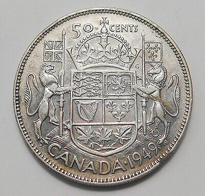 1949 Fifty Cents VF+ Nice LOW Mintage BETTER Date George VI SILVER Canada Half