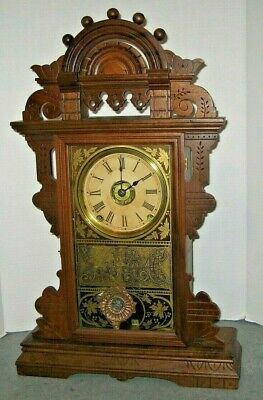 Antique Clean Seth Thomas Eclipse Ball Top Shelf Parlor Mantle Clock Working