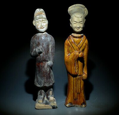 """Amazing China Ancient Sancai Glazed Pottery Pair Of Man And Woman Statues 8.85"""""""