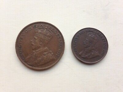 Canada 1919 1920 King George Large and Small Penny