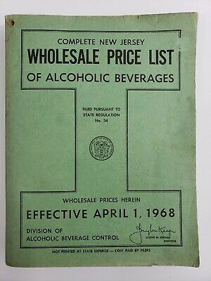 1968 ABC New Jersey Wholesale Liquor Store Price List Catalog 462+ Page Soft Cov