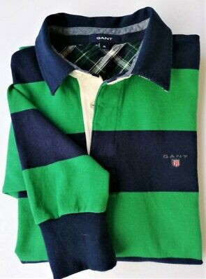 GANT Men's  Multi Color Stripe 100% Cotton Long Sleeve Polo Shirt Size XL