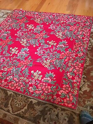 NEW! APRIL CORNELL FLORAL TABLECLOTH MADE IN INDIA 52 In SQUARE 100% Cotton NWOT