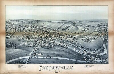 FACTORYVILLE PENNSYLVANIA 1891 Antique old map genealogy family history pa63