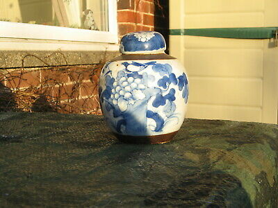 ANTIQUE CHINESE MING STYLE BLUE AND WHITE GINGER JAR c1800