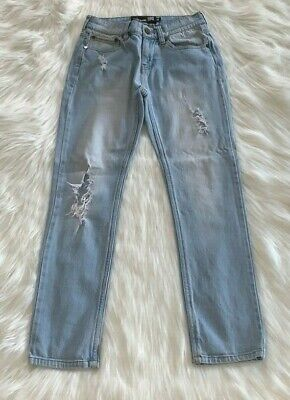 RSQ Jeans Tokyo Super Skinny Youth Boys Light Blue Denim Ripped Jeans - Size 10