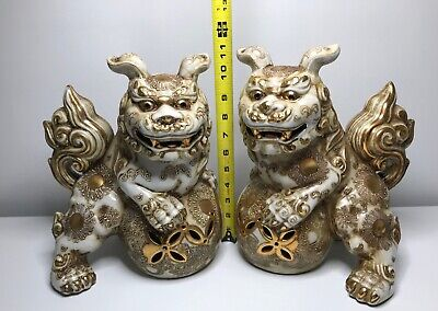 """Chinese White Shishi Lions! Highly Decorative White Foo Dogs! 11"""" Foo Dogs~"""