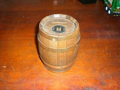 Vintage Oak Barrel - First National Bank - Wooden Advertising Bank w/ no key