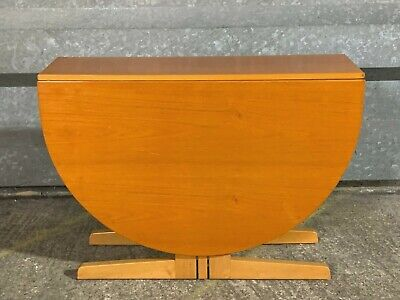 Superb mid century modern beech wood drop leaf dining table with double gate leg