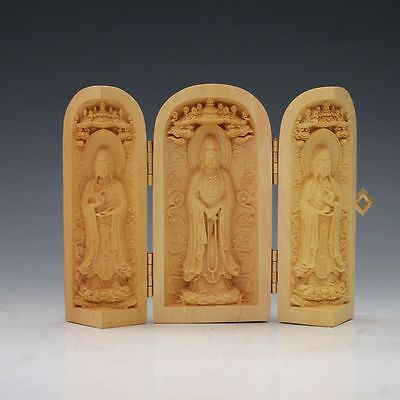 Collections Chinese Boxwood Hand Carved Guanyin Statue Box