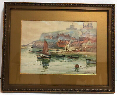 J W WILLIAMS (1787-1872) 19th Century Original Seascape Watercolor Framed Matted