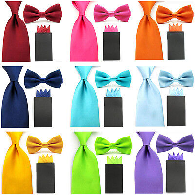 Mens Satin Solid 8cm Tie Necktie 4 Fancy Folds Pre-folded Handkerchief Hanky Set