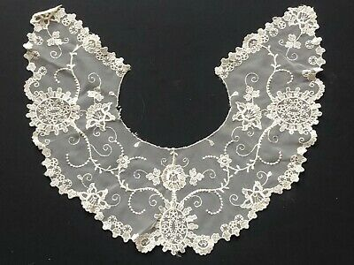 WOW! LARGE Antique NET Lace COLLAR Vintage Cream FLORAL Flowers LOTS Listed!