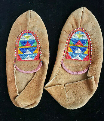 Old pr of Native American Beaded Moccasins  #9