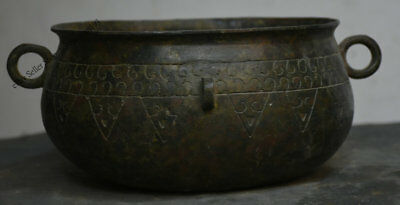 "11"" Ancient Chinese Dynasty Palace Old Bronze Ware Vessel Food Pot Jar Crock"