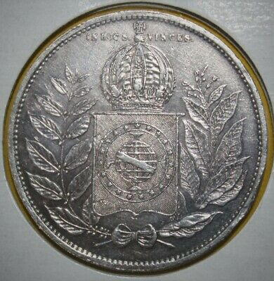 Brasil - Brazil 2000 Reis 1852 Almost Uncirculated Large Silver Coin