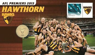 2013 $1 AFL Premiers Hawthorn Hawks Coin & Stamp Cover PNC
