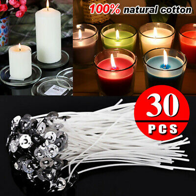 30 Pcs Candle Wicks Low Smoke Pre Waxed Wick with Tabs Sustainers Cotton Core AU