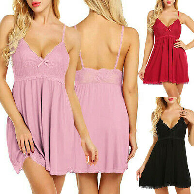 Womens Plus Size Lingerie Pink Heart Print Chemise Nightie A72
