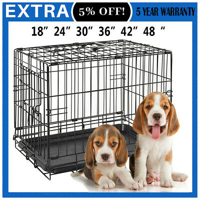 Dog Cage Puppy Pet Crate Carrier -Small Medium Large S M L XL XXL Metal Two Door