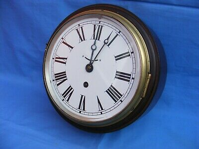Antique, Victorian, Ships Bulkhead Clock, Single Fusee, Gwo, Replaced Dial.