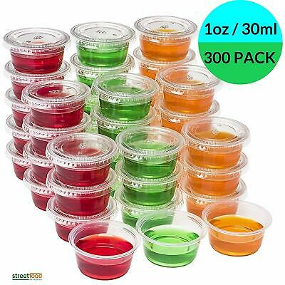 Plastic Sauce Containers with Lids  [1oz - 4oz , 300 pack ] Portion Sample Cups