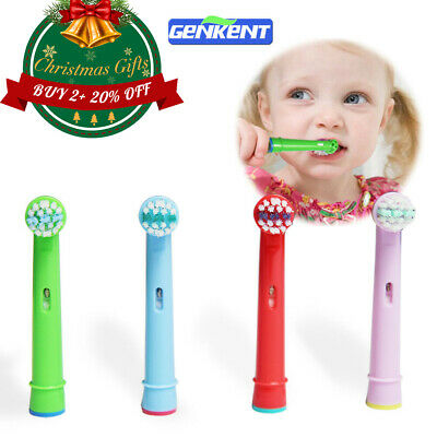 4 Compatible With Oral-B Braun Kids Stages Colorful Toothbrush Heads Home Bleach