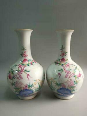 A Pair Of Chinese Famille Rose Porcelain Crane & Peach Vase with Qianlong Marks