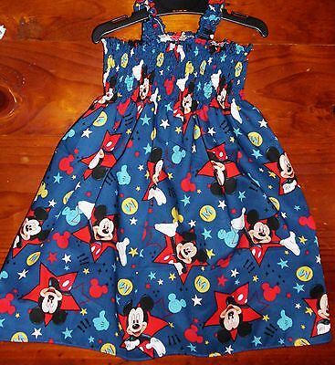 Sz 1 Minnie, Mickey Mouse Cotton Shirred Top Dress Multi Color Made In Australia