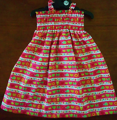 SZ 1 PINK (choices) COTTON SHIRRED TOP DRESS HAND MADE IN AUSTRALIA