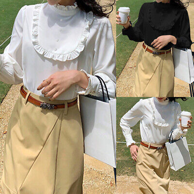 Women Ladies Victorian Shirts Ruffle Stand Collar Long Sleeve Top Blouse Vintage