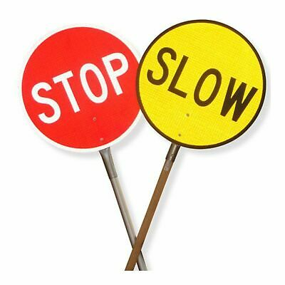 Traffic Control Equipment -  Stop Slow Traffic Sign with Galvanised Handle