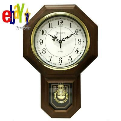 Pendulum Westminster Chime Faux Wood Vintage Wall Clock 18-1/2 in. x 11-1/4 in.