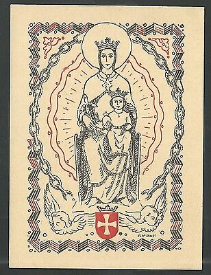 Estampa antigua Virgen de la Merced andachtsbild santino holy card santini