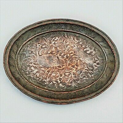 Islamic Persian Qajar Tinned Copper Small Plate Depicting Lion Attacking Deer.