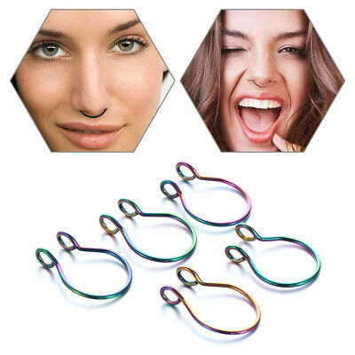 Steel No Piercing Needed Faux Septum Body Jewelry Cilp On Hoop Fake Nose Ring