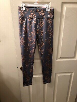 NWT Girls Justice Size 14/16 Gray Full Length Leggings w/Gold Leopard Print