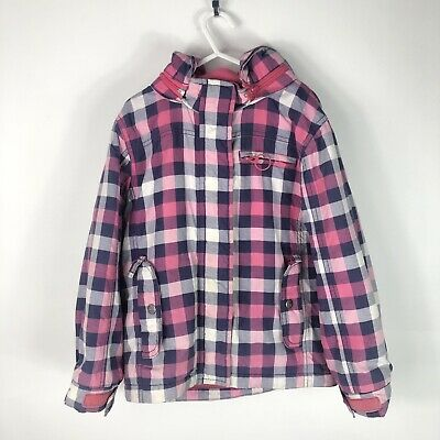 MINI BODEN Girls 5-6 Years Pink/Blue Check Fleece Hooded Rain/Snow Coat/Jacket