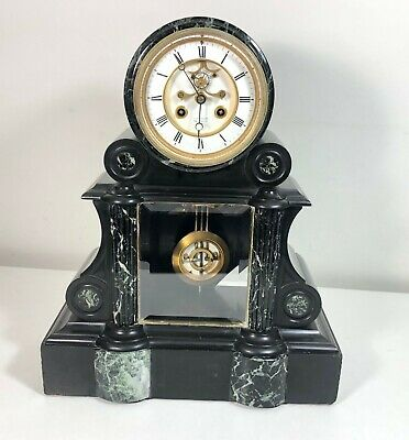 Antique French Slate & Marble Mantel Clock Visible Escapement L Barbaste/S Marti
