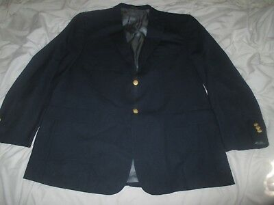 Stafford Men's Navy Blue 2 Gold Button Suit Jacket Sz 48 L